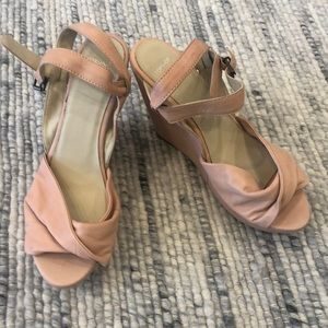 Topshop pink leather wedges, sz 8.5